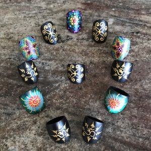 🌈Hand Painted Rings on Coconut Shell🌈